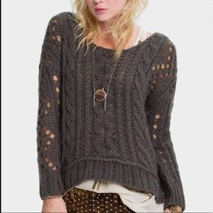 Free people open cable knit wool blend sweater S